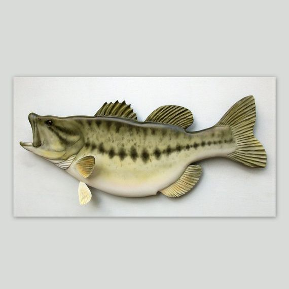 Largemouth Bass Fish Wood Carving Fishing Gift By Woodnarts 160 00 Fish Wood Carving Fishing Decor Wood Carving