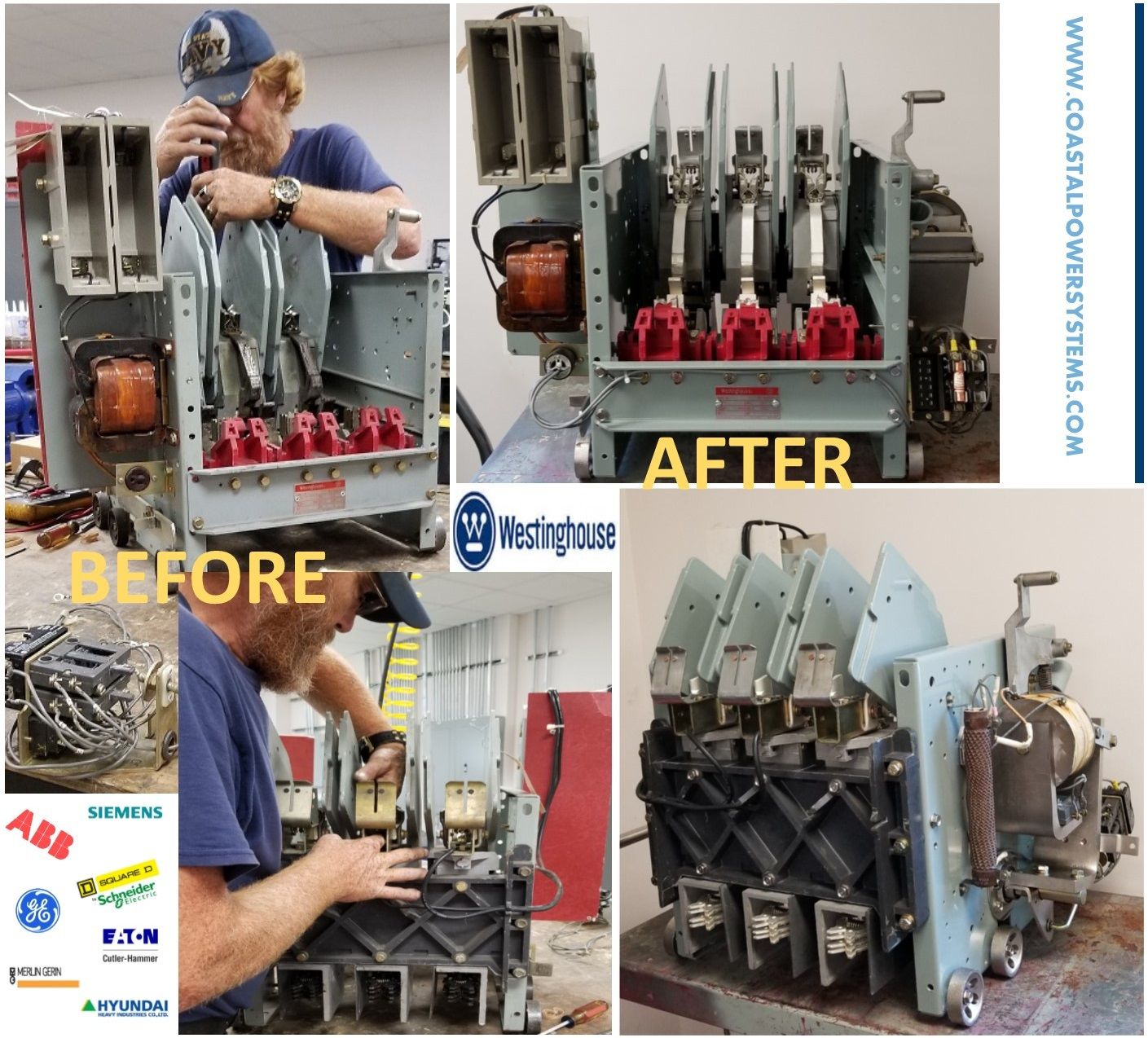 Before After Pictures Repaired And Rebuilt Westinghouse Lf50h430 Ac Contactor Including Powder Coating And Metal Plating Westinghouse Repair Breakers