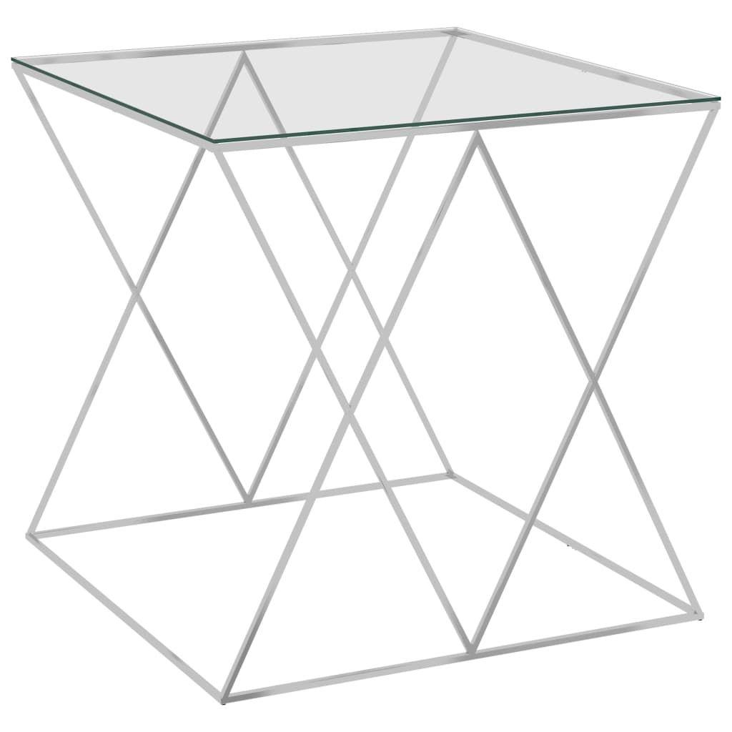Couchtisch Beistelltisch Sofatisch   Wohnzimmertisch Modern Design Silbern 55x55x55 cm Edelstahl und Glas   9033
