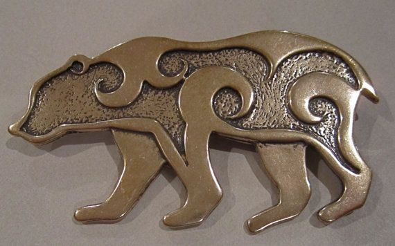 Large Bear Brooch or Pendant in Bronze by MasterArks on Etsy