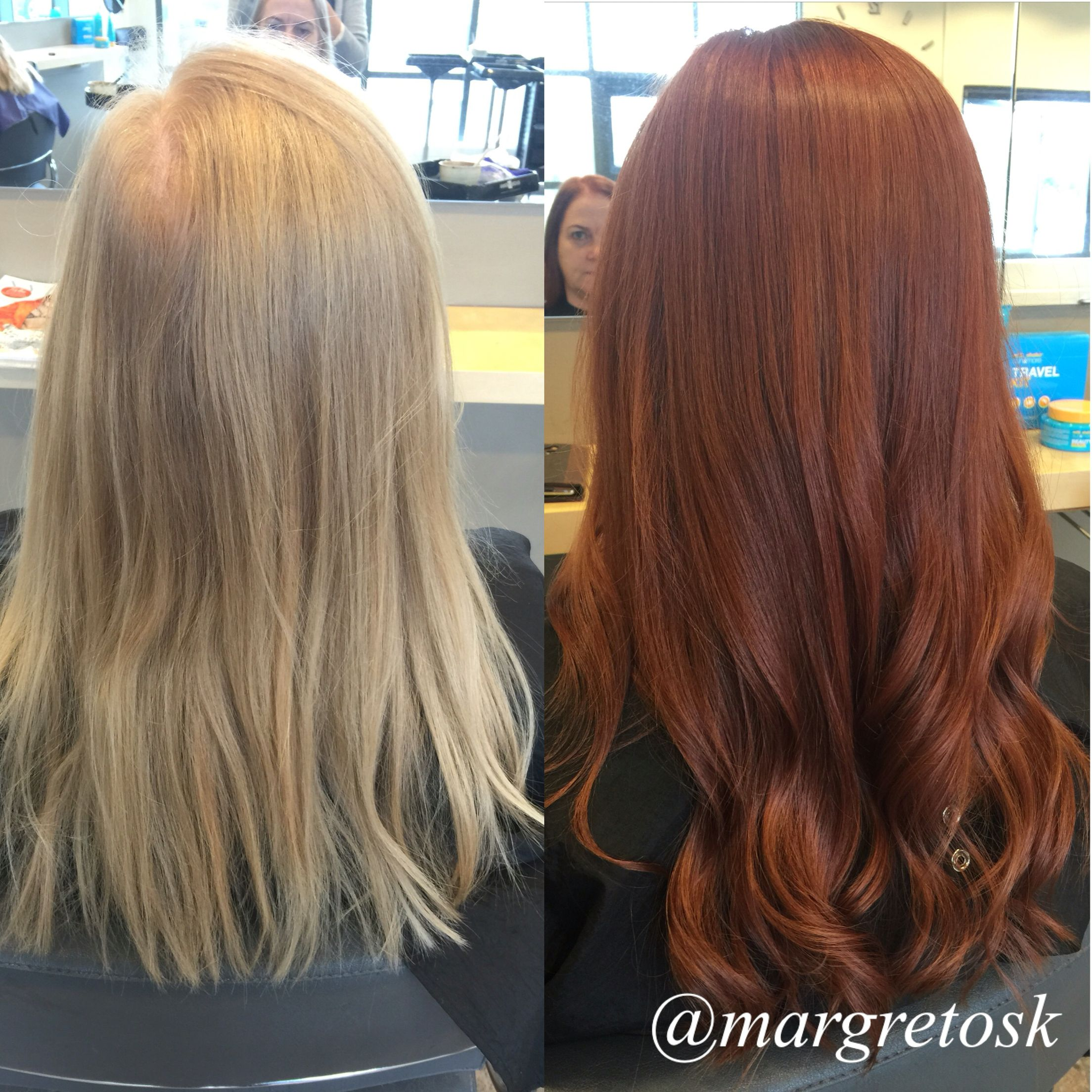 Dramatic Transformation From Blonde To A Rich Red Auburn Color