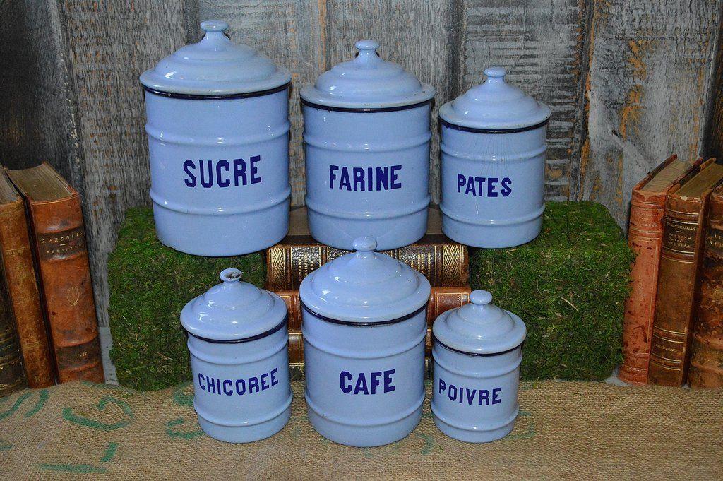 Vintage French Light Blue Enamel Canisters Set Of 6 Kitchen Enamelware