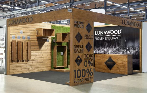 Small Exhibition Stand Alone : Lunawood trade show booth by bond exhibition design exhibition