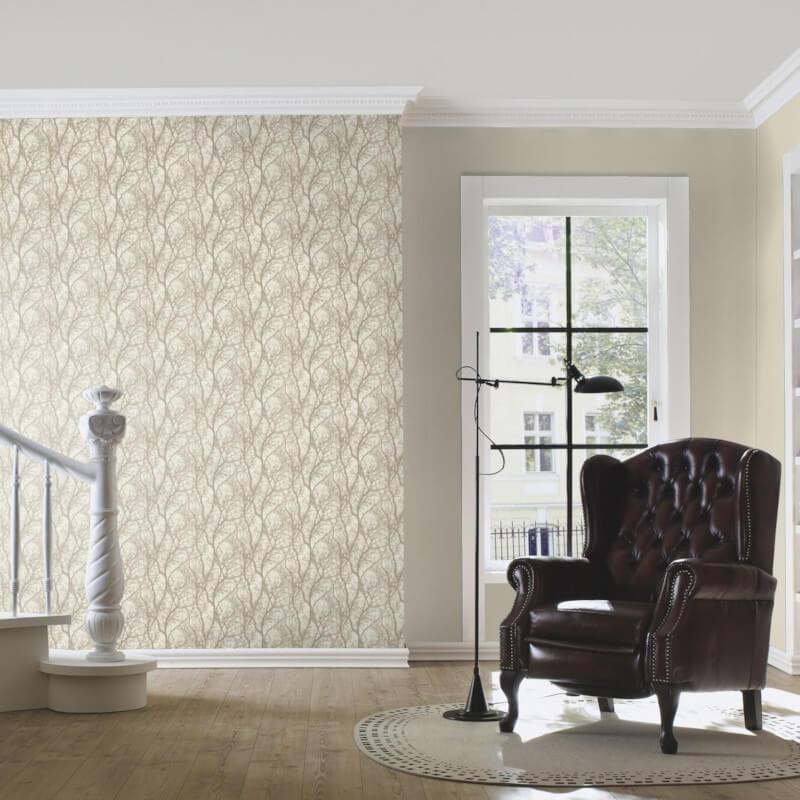 Rasch Glimmer Forest Cream/Gold Metallic Wallpaper