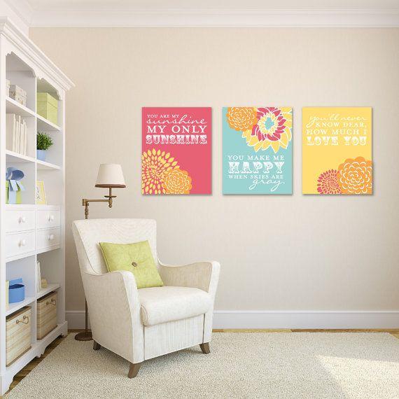 You Are My Sunshine Nursery Kids Room Giclée Art Prints 3 Print Set Custom Match Colors To Your N G03 3ps