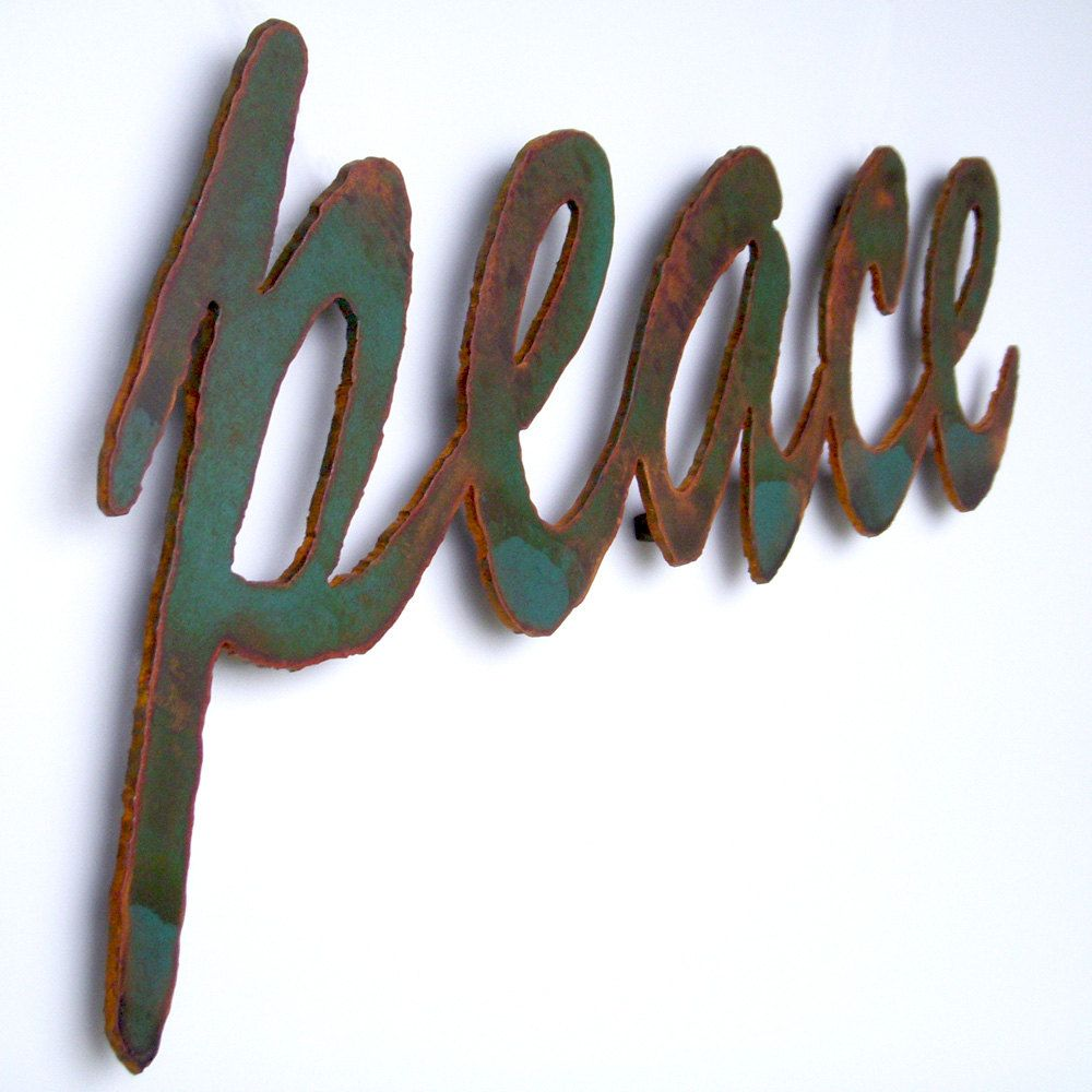 Peace Sign Wall Art Metal 22 1 2 Wide Green Rust Patina Steel Peace Sign With Color On Inside