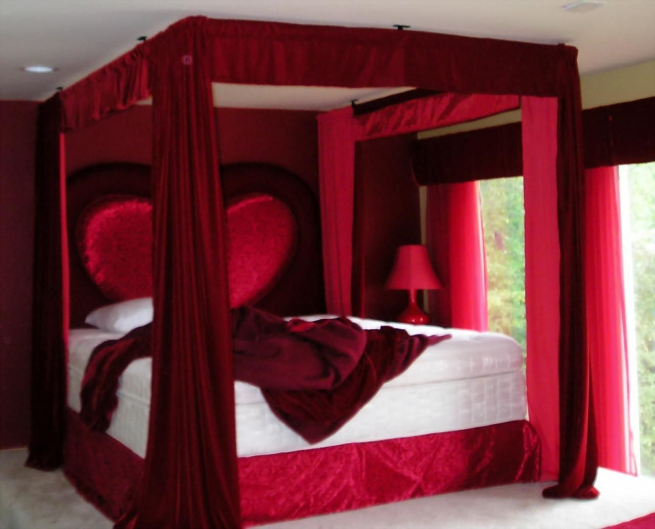 Bed Room, Lovable Bedroom Ideas For Couple With Fascinating Red Canopy  Above Stunning Glazing Window Interesting Headboard Marvelous Lamp Side:  Comfortable ...