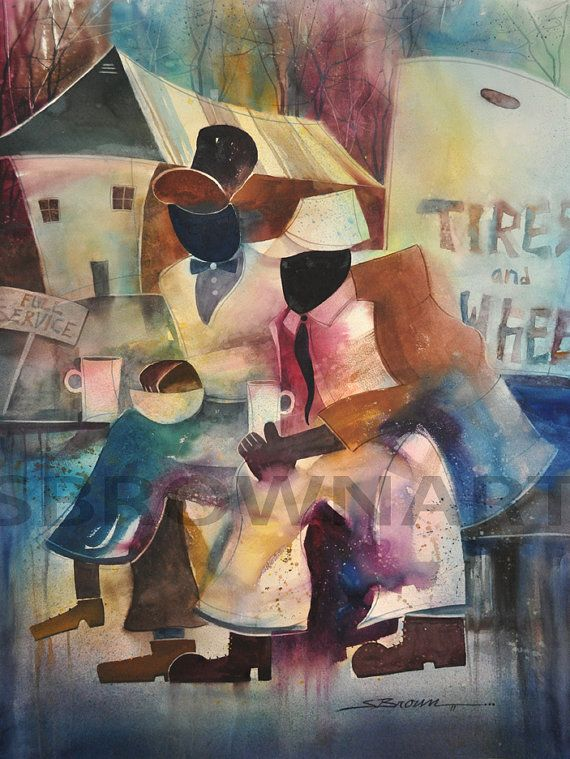 Full Service Watercolor Painting, African American Art