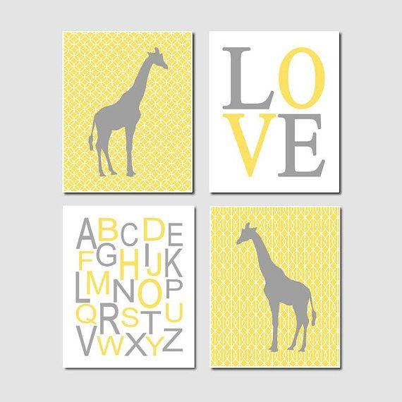 Giraffe Wall Art, Nursery Decor, Prints Or Canvas, Yellow Gray ...