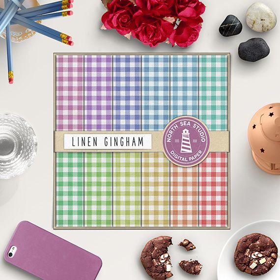 Gingham Digital Paper -  http://etsy.me/1Q1s26J Set of 12 linen backgrounds in pastel colors.