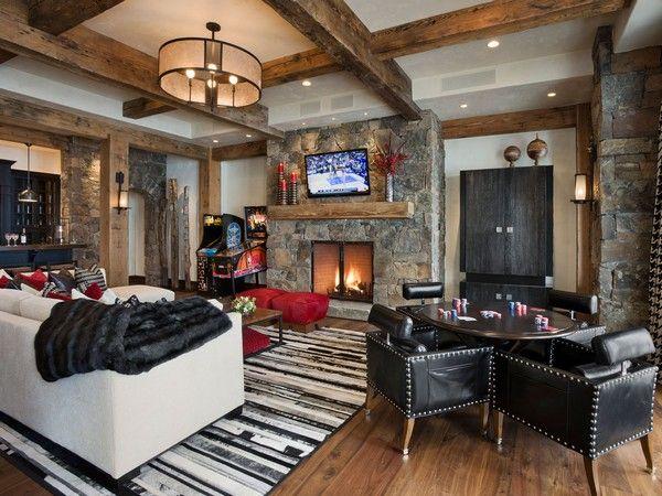 rustikales wohnzimmer-kamin ledermobel | garden & home | pinterest ...