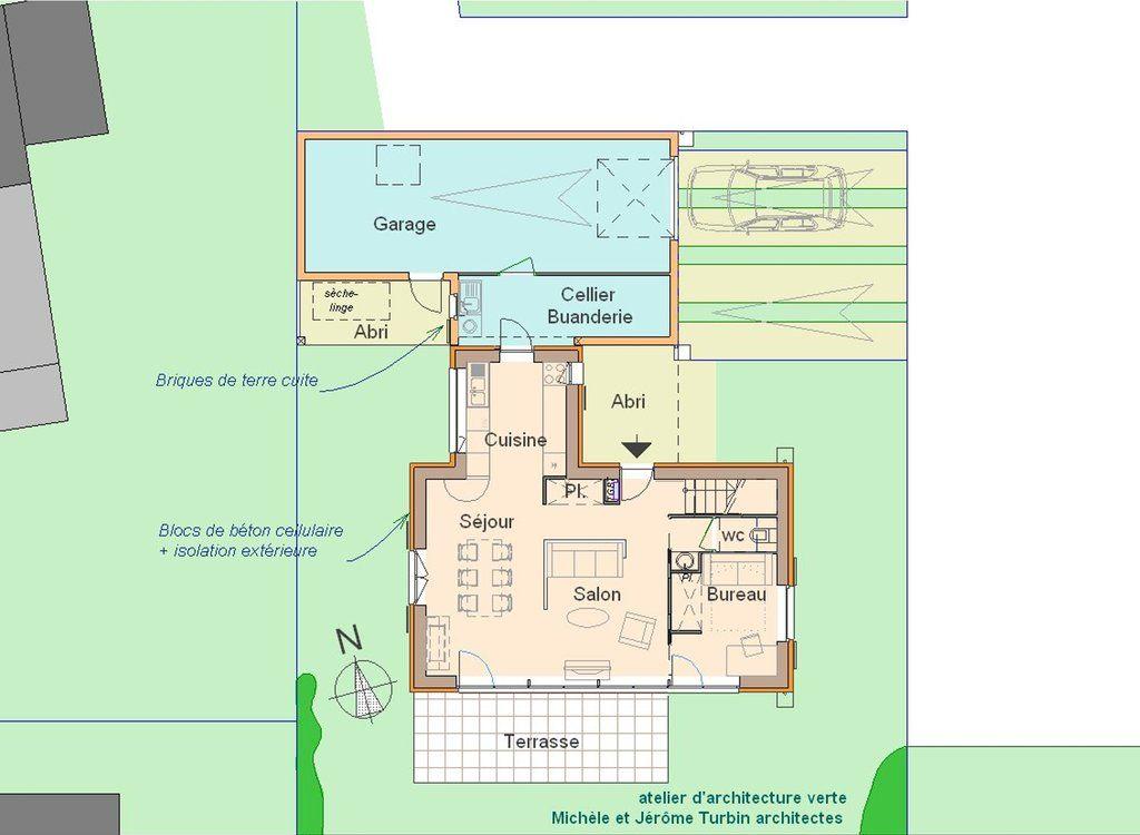 maison passive à Pleumeleuc - plan RDC Maison à étage Pinterest