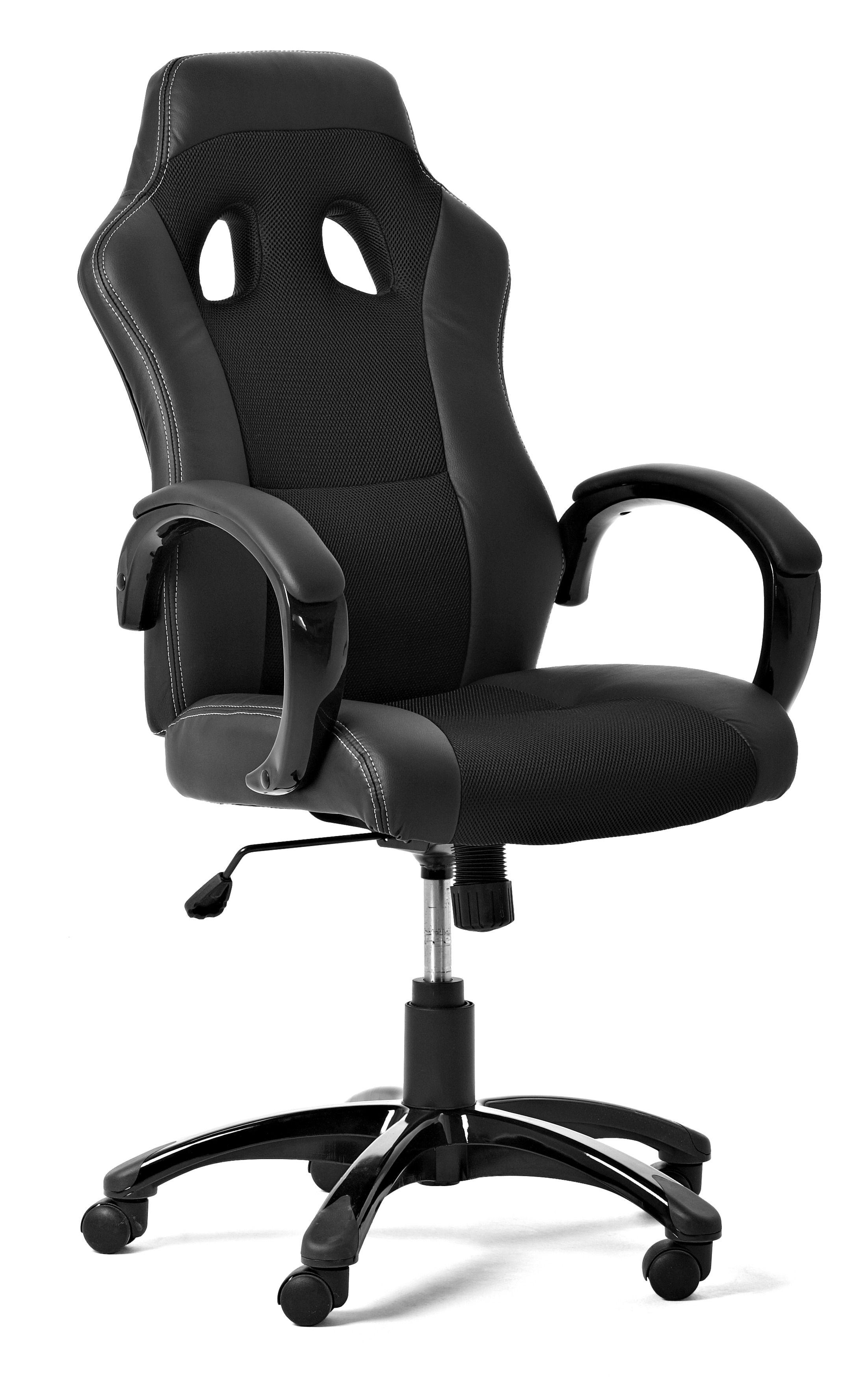 desk chair jysk swing indoor race write imitation leather black height