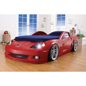 Corvette Convertible Toddler Bed with Working Headlights, Silver ...