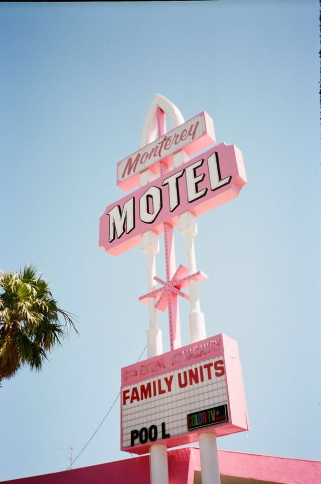 Pastel Pink Mid Century Modern Hotel Signage Welcome