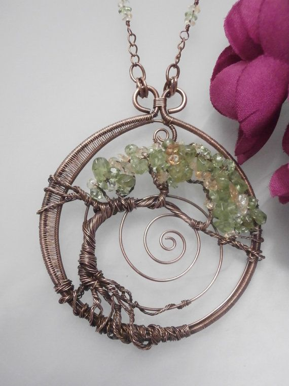wire wrapped tree of pendant necklace by