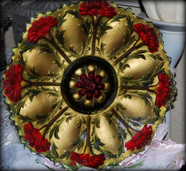 Goofus Glass Red Carnation Plate
