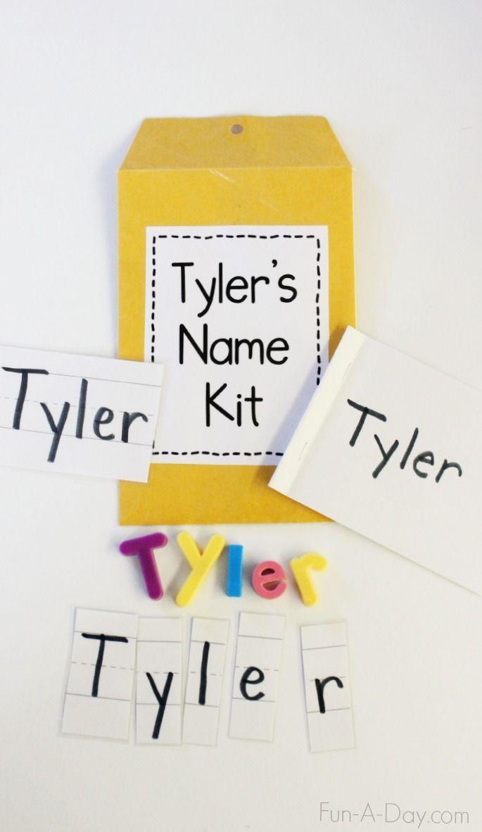 Name Kits For Kindergarten And Preschool Name Practice Fun A Day Preschool Names Preschool Learning School Activities Name writing activities for preschoolers