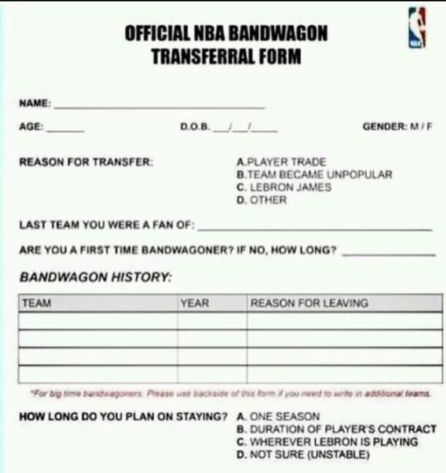 Official Bandwagon Transfer Form Lol GAME TIME! Pinterest - leave request form