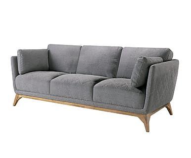 Sofá de 3 plazas en madera de nogal Grania - gris