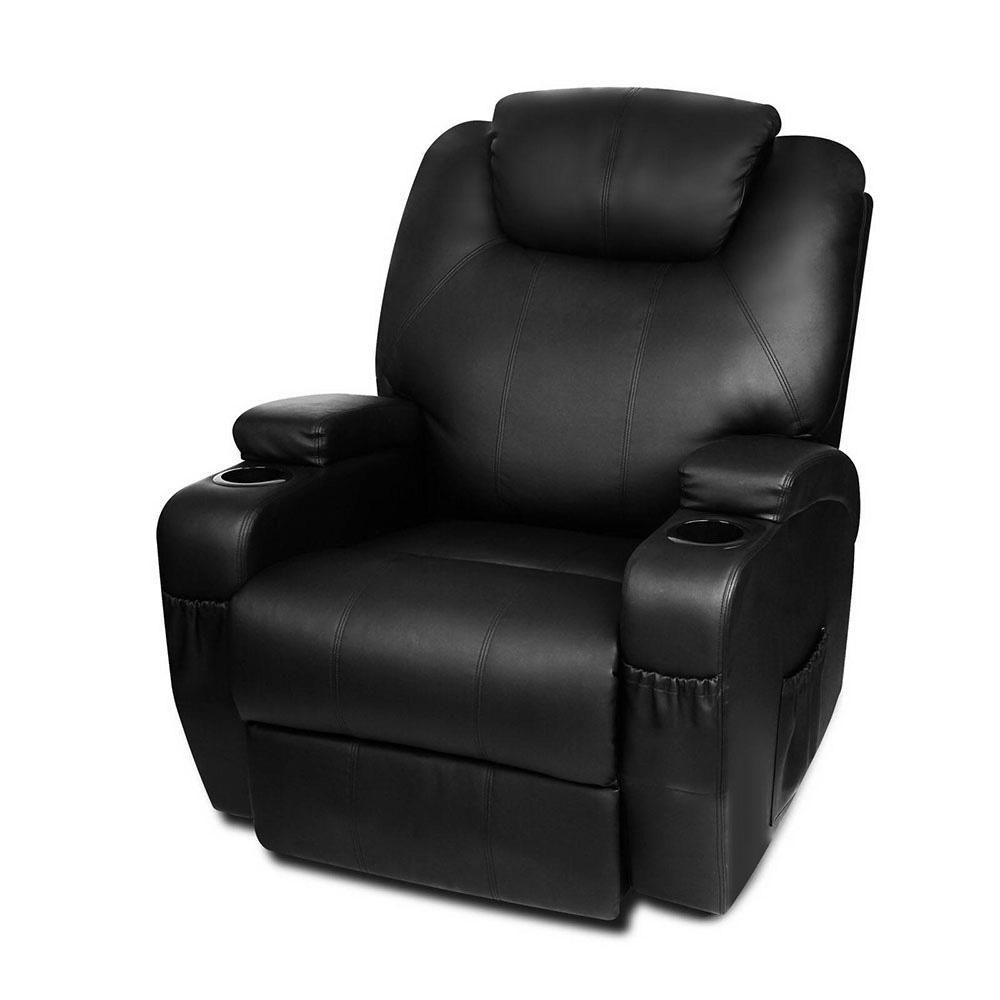 Artiss pu leather massage armchair black sofa chair