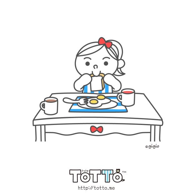 The girl eat breakfast.