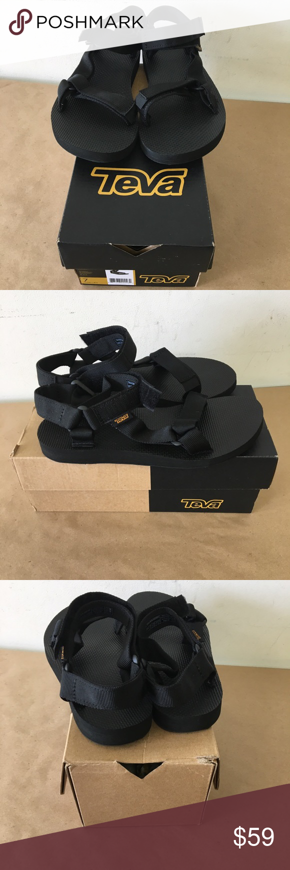 158c1e037f23 TEVA Women s Size 7 Black Sandals Original NEW NIB TEVA Women s Size 7 Black  Sandals Original