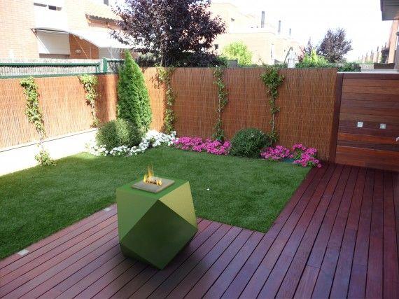 Decoraci n jard n con chimenea de bioetanol chimenea for Decoracion exterior jardin contemporaneo