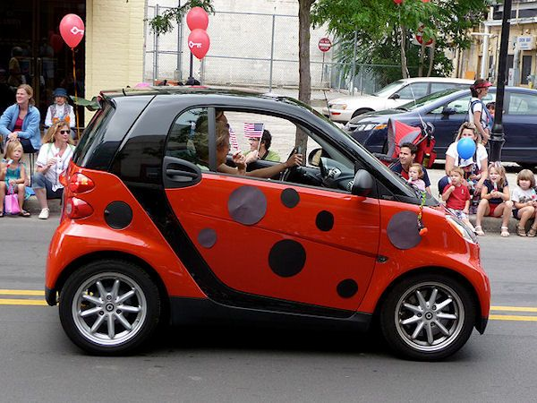 Ladybird smart car whenever I see a red one I wonder why the