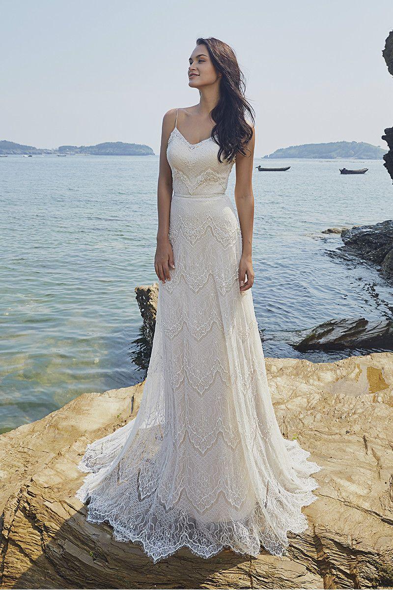vintage lace wedding dress, boho wedding dress, beaded wedding dress ...