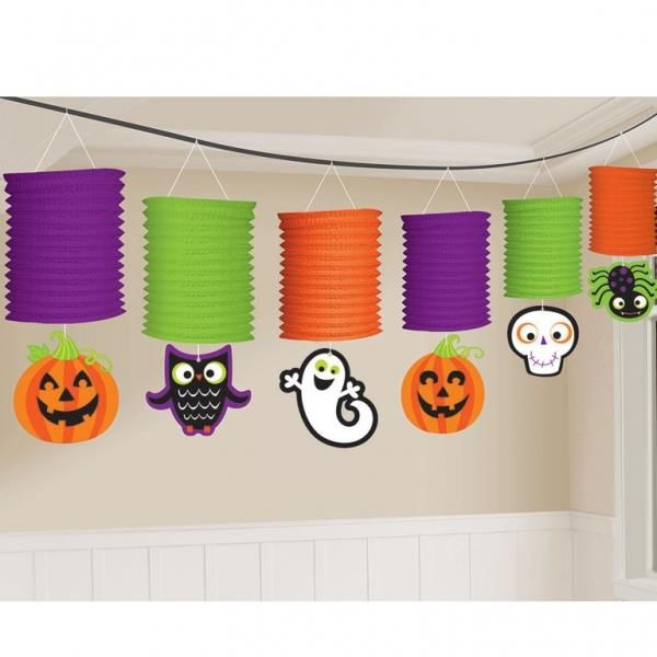 our halloween paper lantern garland features accordion style paper