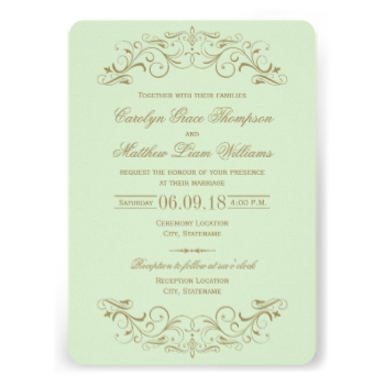 Decorative swirls and flourishes frame this elegant vintage inspired wedding invitation design. Light pistachio green and antique gold color scheme. Personalize the custom text for your marriage ceremony and reception. #wedding #vintage #elegant #swirl #scroll #flourish #wedding #collections #filigree #ornate #decorative #chic #template #design