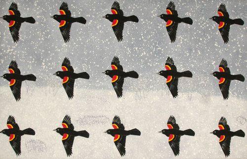 David Thauberger Blackbirds in a Snowstorm, 1975