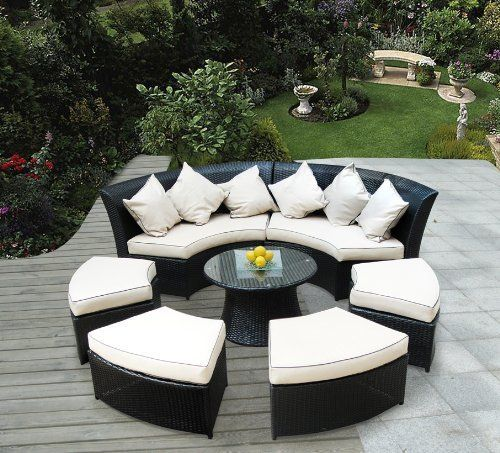 Genuine Ohana Outdoor Patio Wicker Furniture 7pc All Weather Round