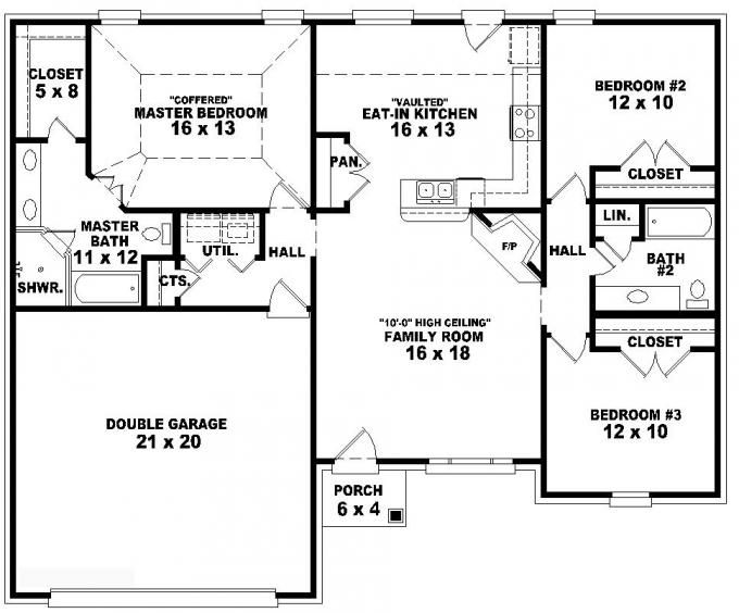 653788 one story 3 bedroom 2 bath french traditional for 3 bedroom house layout