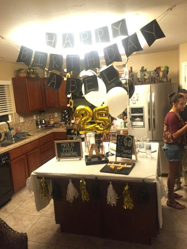Male 25th birthday music theme gold black white for 35th birthday decoration ideas