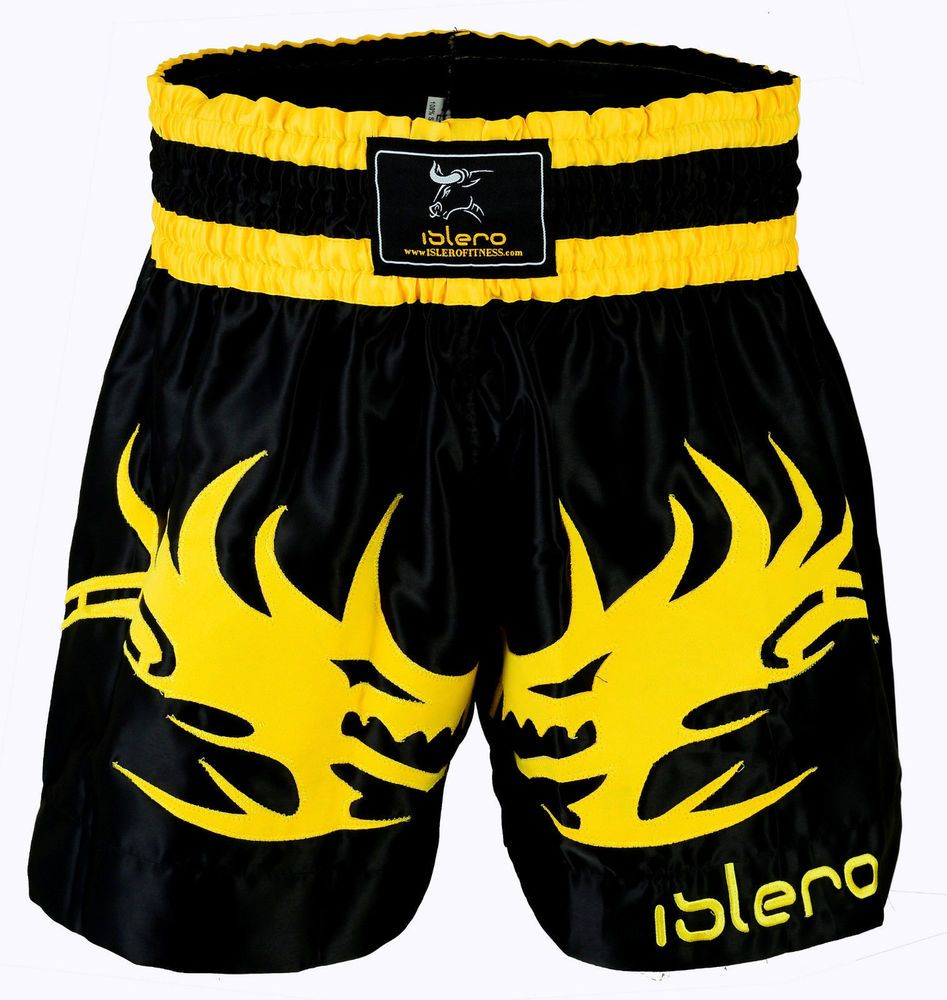 ISLERO Muay Thai Shorts MMA Fight Kick Boxing Grappling Martial Arts Gear UFC H