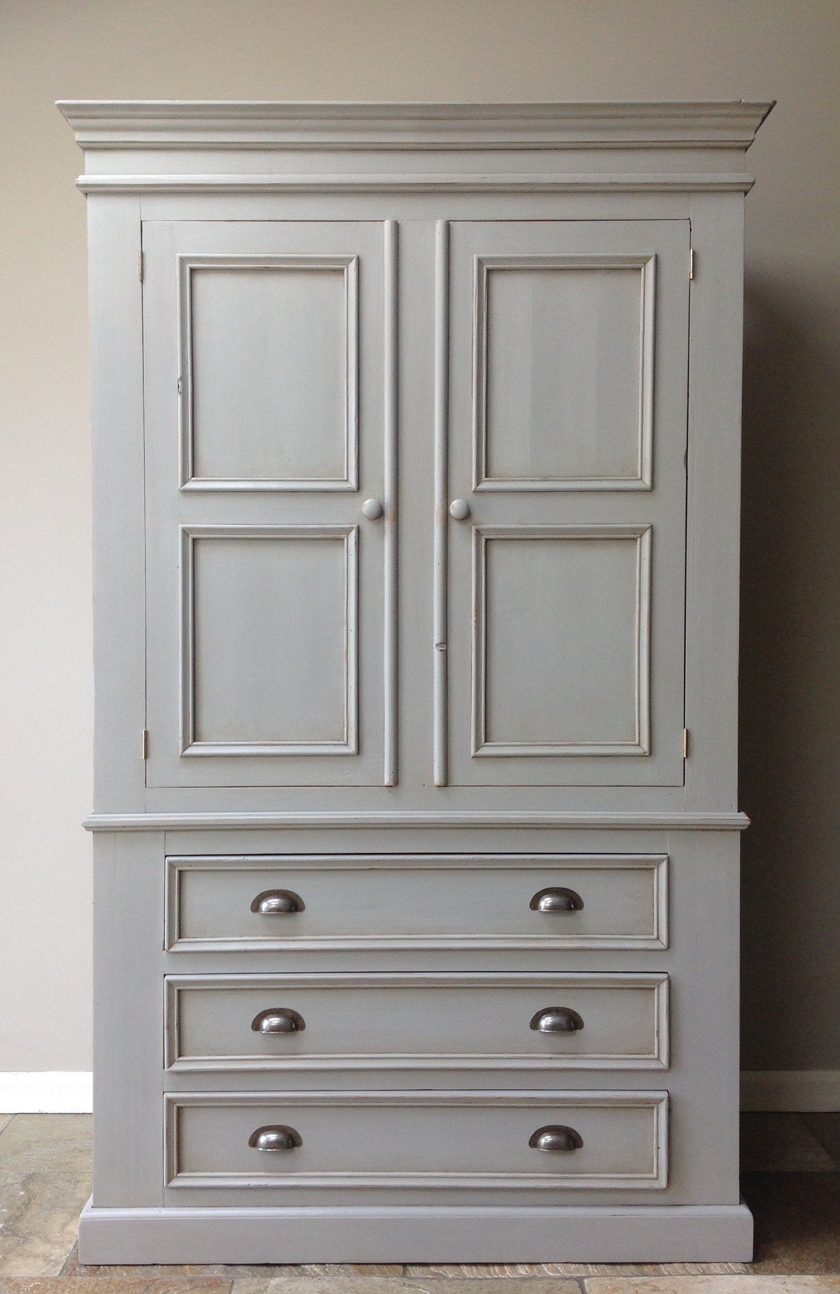 Vintage Farmhouse Country Rustic Painted Grey Wardrobe Linen Press Solid Pine Painted Wardrobe Grey Painted Furniture Annie Sloan Annie Sloan Painted Furniture
