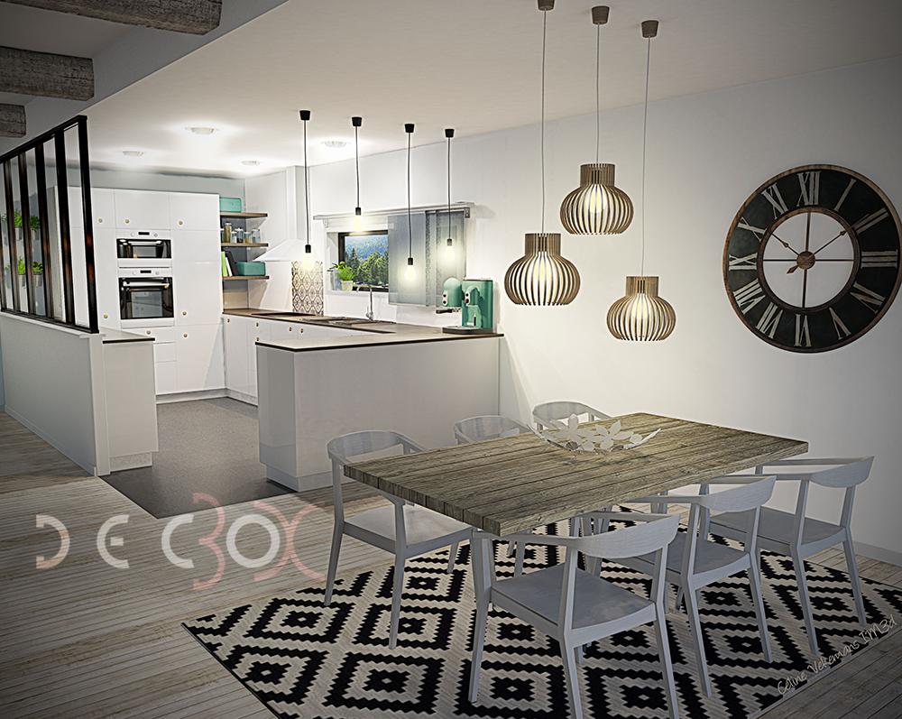 Cuisine salle manger style scandinave verri re poutres - Cuisine architecte d interieur ...