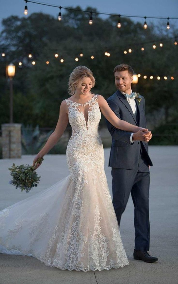 LORIE 2019 Summer Mermaid Wedding Dresses Lace Appliques Bridal Gowns Lace Wedding Dresses Custom made Plus size #spitzeapplique