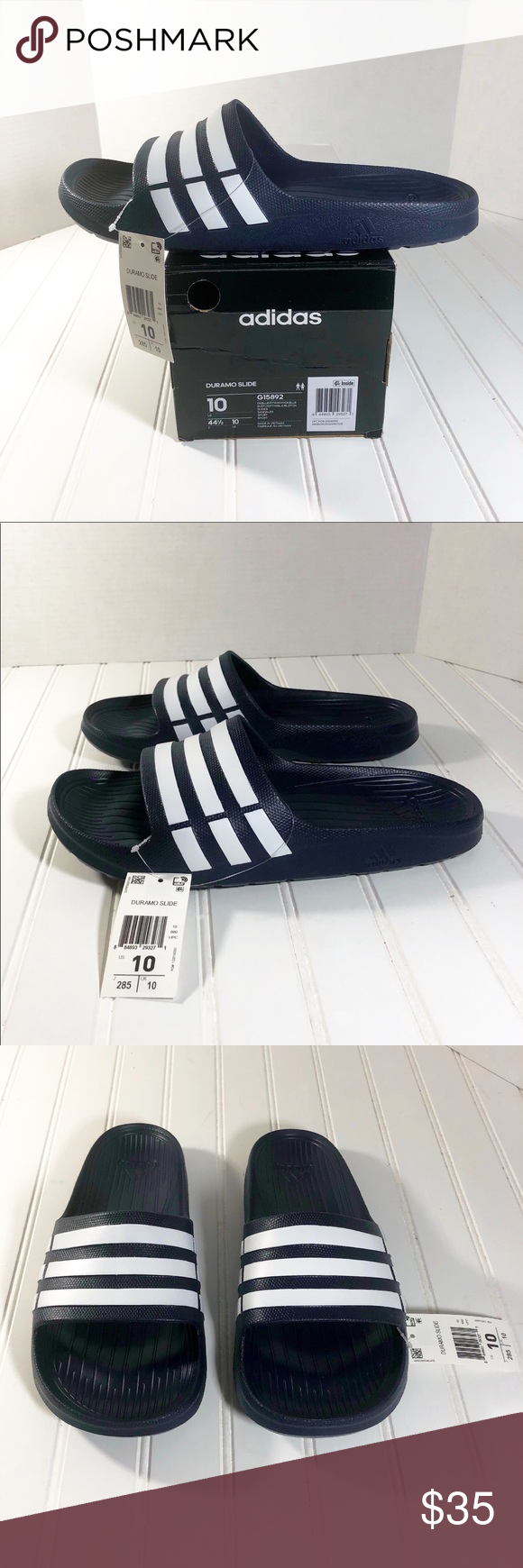 05f7c6286 Men s Adidas Duramo Slide Sandals Size 10 New with box Men s Adidas Duramo  Slide Sandals Style ID  G15892 Brand  Adidas Color  Navy White Size  Men s  10 ...