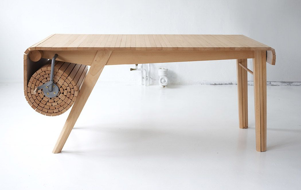roll up wood table by marcus voraa