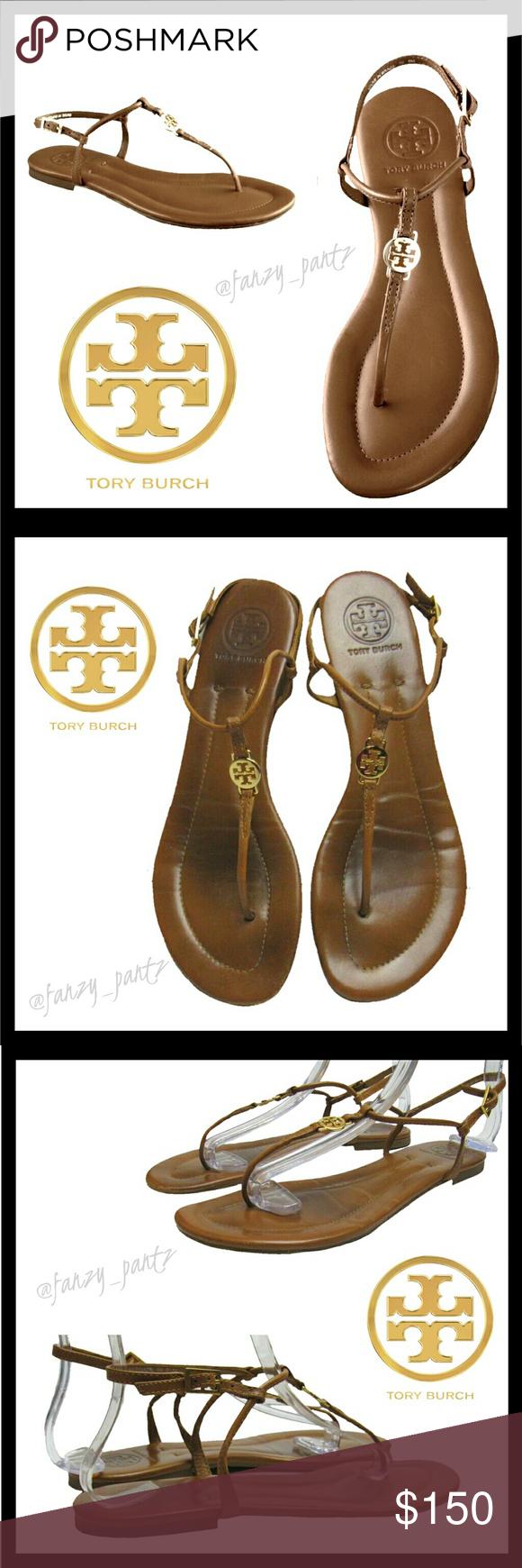 ff854bfb0fe88 Tory Burch Emmy brown gold logo sandals 8.5 Tory Burch  Emmy  logo Thong