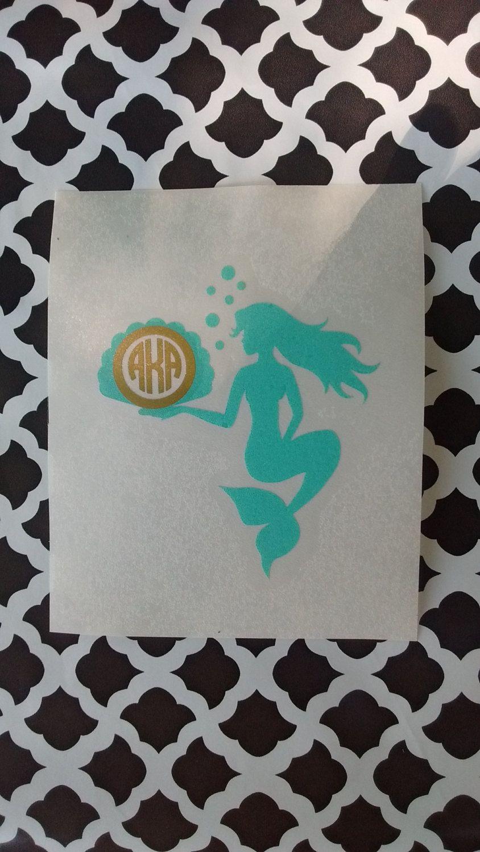 Patterned Mermaid Decal Vinyl Details about  /Mermaid Monogram Decal
