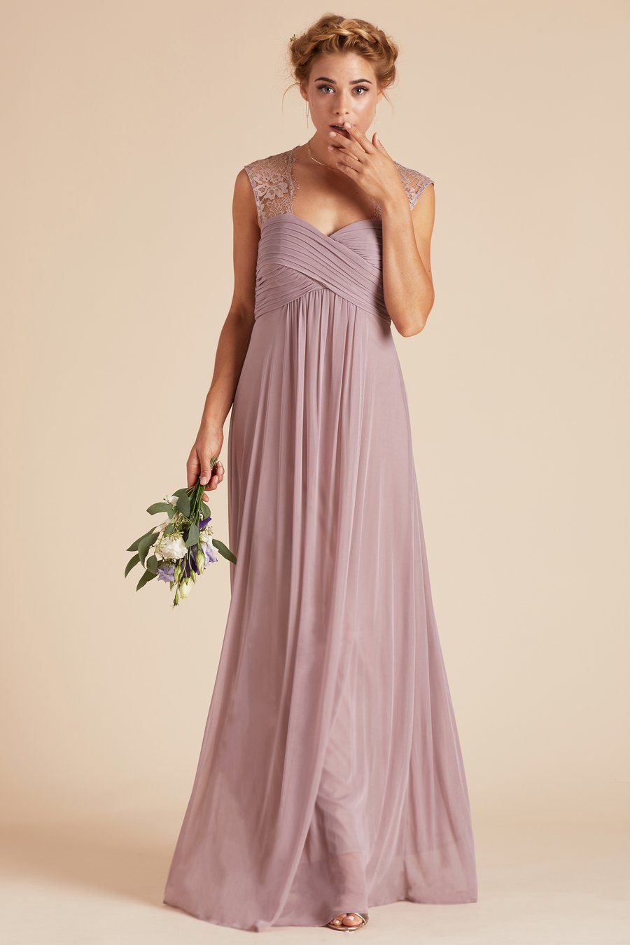 3461524fc Mary bridesmaid dress by Birdy Grey in Mauve. Vintage style lace empire  waist gown under $100.