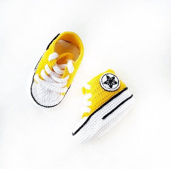 5c25bb6327f7c Yellow Baby Converse Pregnancy Gift Baby Sport Booties Yellow ...
