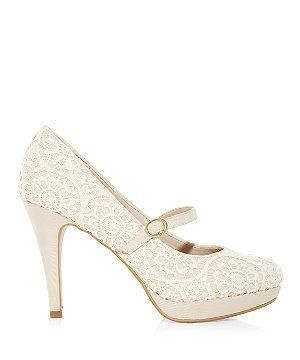 Winter White Cream Wide Fit Crochet Strap Platform Court Shoes 306939912