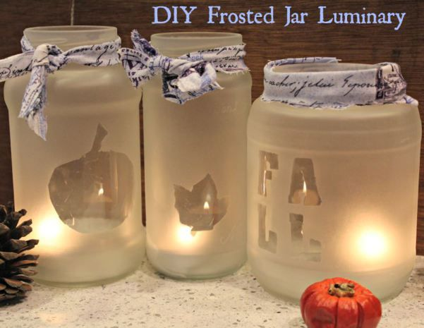 Create something lovely for your home! DIY Frosted Jar Luminary. Use up those old glass jars you have been saving!!