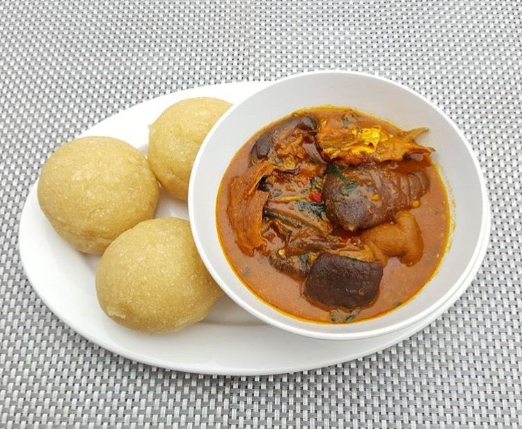 Eba and ogbono soup. Nigerian dish | West african food, African food, Food
