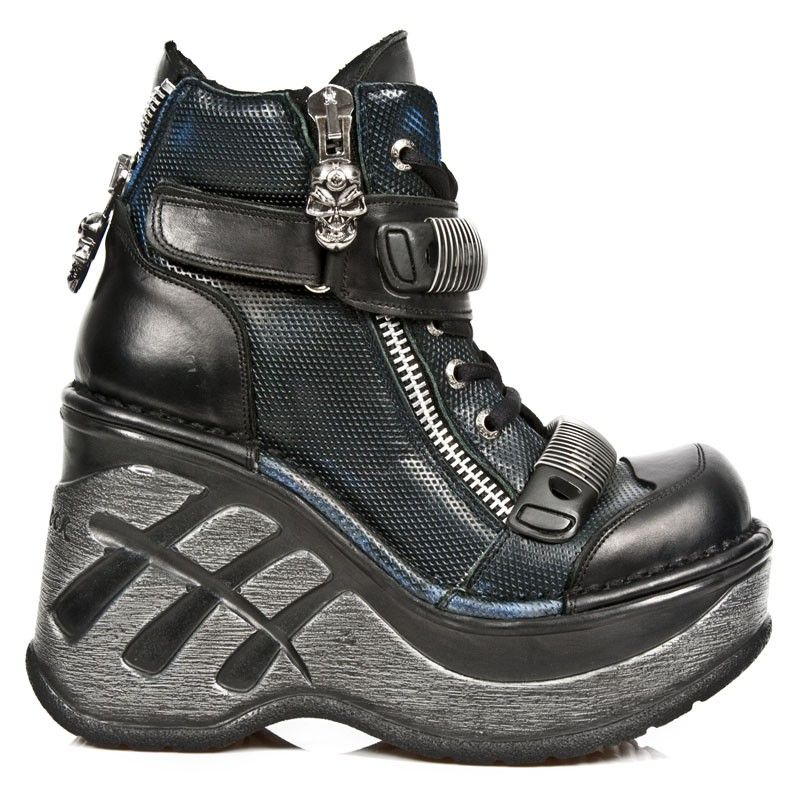Black-blue New Rock Shoes with Zipper, Lacing, Velcro and high Wedge-Heel from the New Rock Cuña Sport Collection.